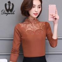 Dingaozlz women clothing 2017 autumn new Korean fashion hollow out diamonds stitching embroidery casual blouse shirt