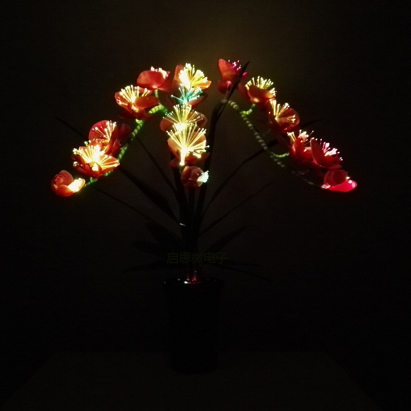 Fashion orchid artificial flowers Led lamp Artificial Butterfly Orchid Silk Flower Bouquet Phalaenopsis Led fiber optic light цены