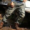 2015 otoño masculino ropa deportiva multi bolsillos cargo pantalones militares de vaquero de la personalidad retro jeans para hombres