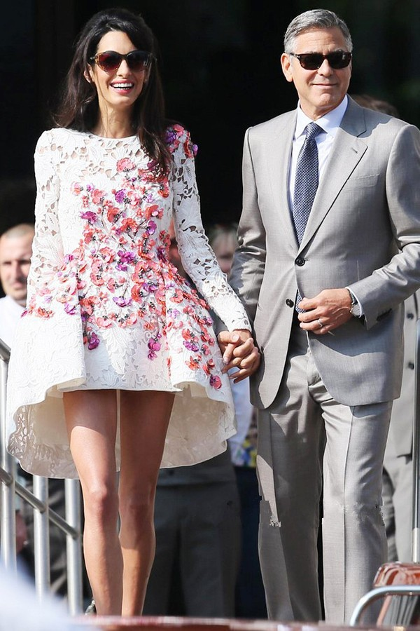 Amal Alamuddin White Short Mini Lace Celebrity Dresses Long Sleeves 2015 Special Occasion Red Carpet Party Gowns - Bridal Fashion Store store