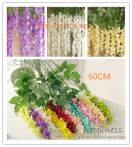 10Colors 60CM Artificial Wisteria Silk Flower Vine For DIY Home Party  Wedding Garden Floral Decoration Living