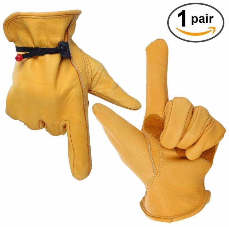 6 pair Safety gloves Wear-resisting Leather Security Protection Wear Safety Workers Welding Moto Driver Warm Gloves Art No:1004