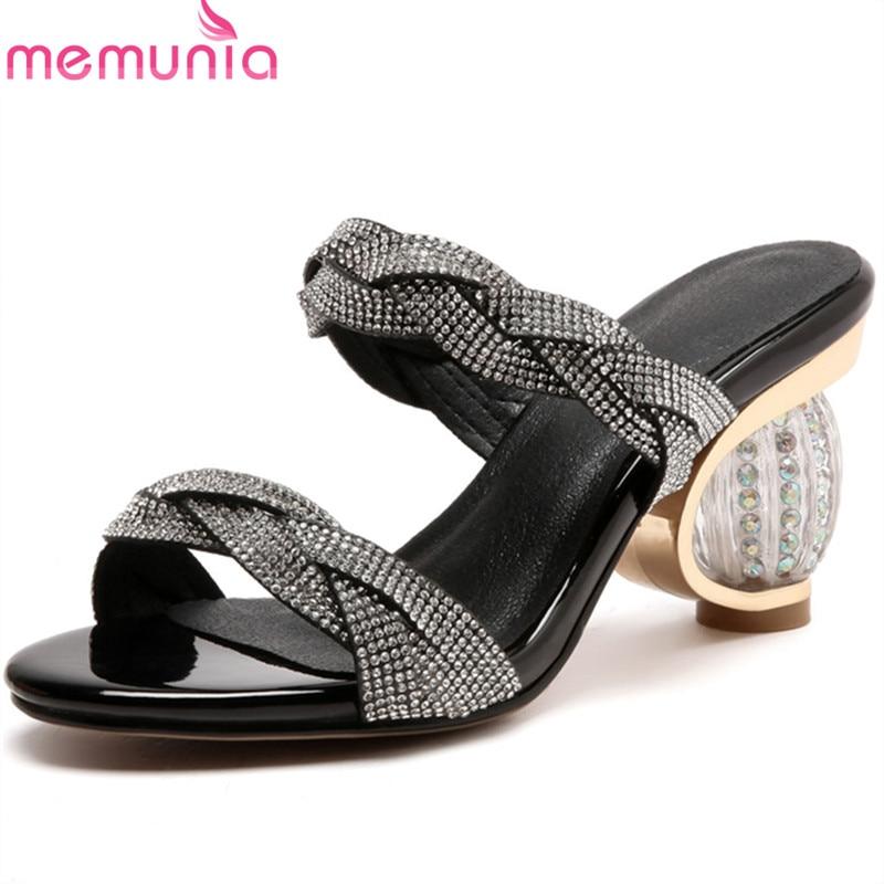MEMUNIA 2020 duży rozmiar 33 43 nowy przyjeżdża kobiety sandały moda buty letnie eleganckie rhinestone 7.5cm buty na wysokim obcasie kobieta w Wysokie obcasy od Buty na  Grupa 1