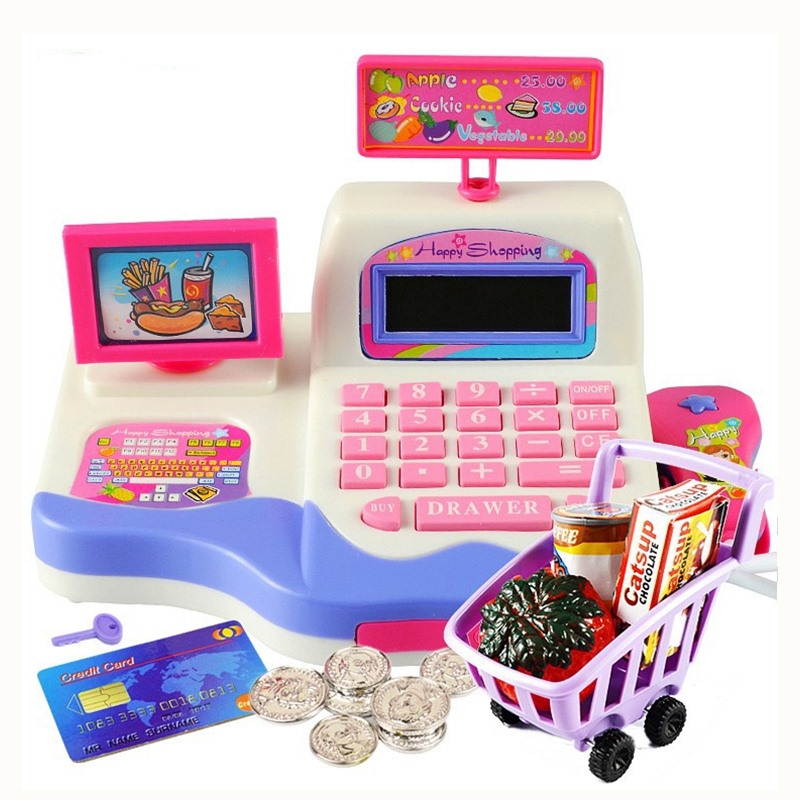 Electronic Cash Register Toy Pretend Play Toys Children Simulation Cash Register Toys Supermarket Checkout Child Christmas Gift c 50 electronic cash registers cash register pos cash register 8v multifunctional catering cash register for supermarket milktea