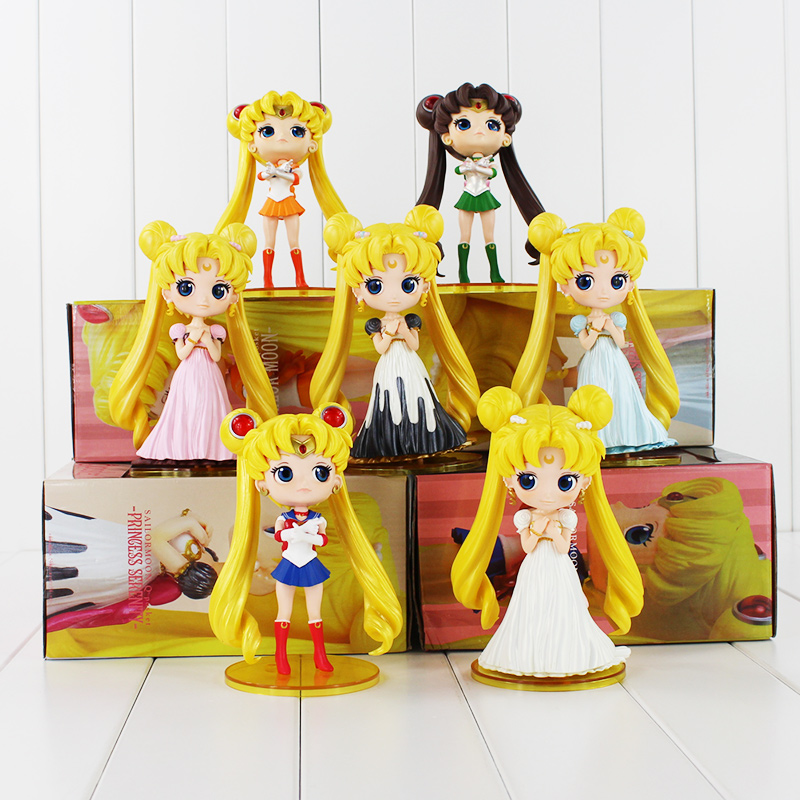 615cm Q Posket Sailor Moon Figure Queen Princess Serenity Tsukino Usagi Jupiter Venus Pluto Action Figures Dolls High Quality 6pcs set sailor moon tsukino usagi chibi usa sailor mars mercury venus jupiter kimono pvc action figure model toys 5cm kt3731
