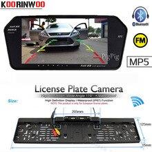 KOORINWOO Wireless EU license Plate Frame Camera 4 IR FM Display 7 Inch Car Monitor Mirror Bluetooth MP5 Car Rear View Camera
