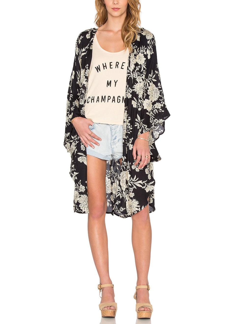 Summer Style Women  Long Kimono Cardigan Vintage Chiffon Floral Kimonos Mujer Ropa Casual Blouses Shirt