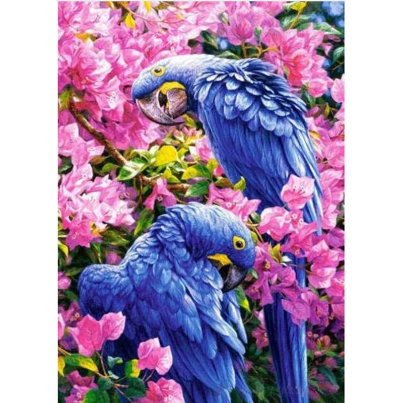 Полный Алмазная вышивка цветы в двух попугаев рукоделие вышивка крестиком diy 5D diamond роспись алмазной мозайкой домашний декор YY