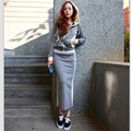 Women 2 Piece Set Casual Zipper Hoodies+Skirts Sets 2016 Autumn Winter Woman Long Hip Skirt Suit FS0136