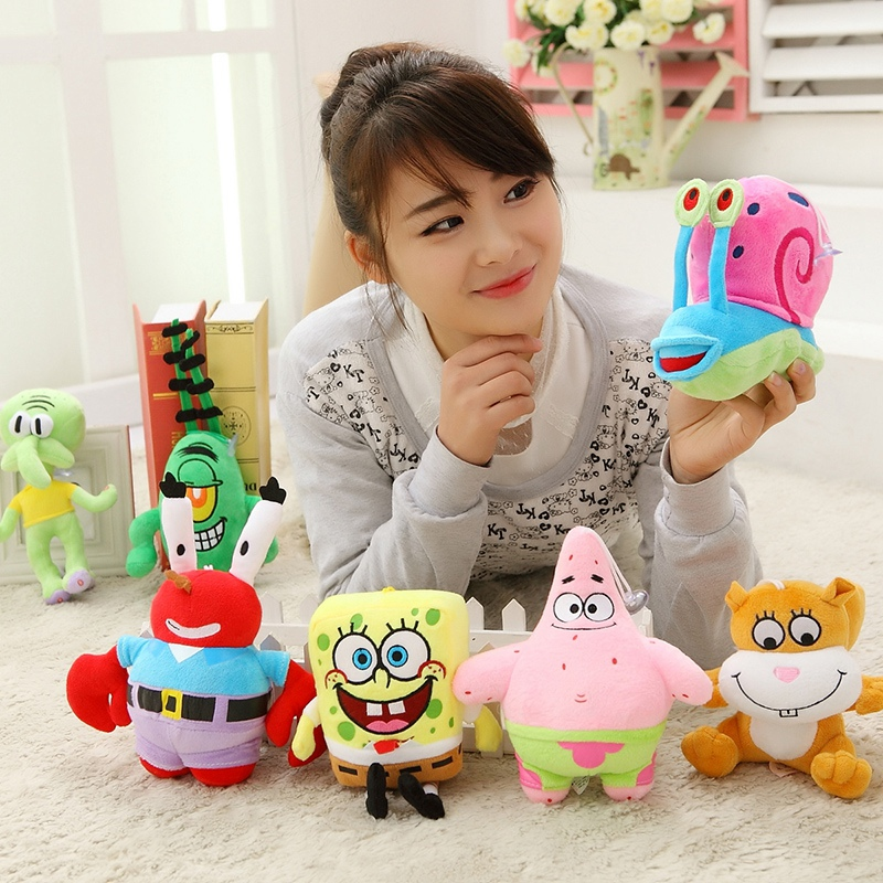 A set 7pcs 20cm SpongeBob high-quality Plush Toys Stuffed dolls Sponge Bob/Patrick/Crab/Plankton/Octopus/Snail kids toys gift