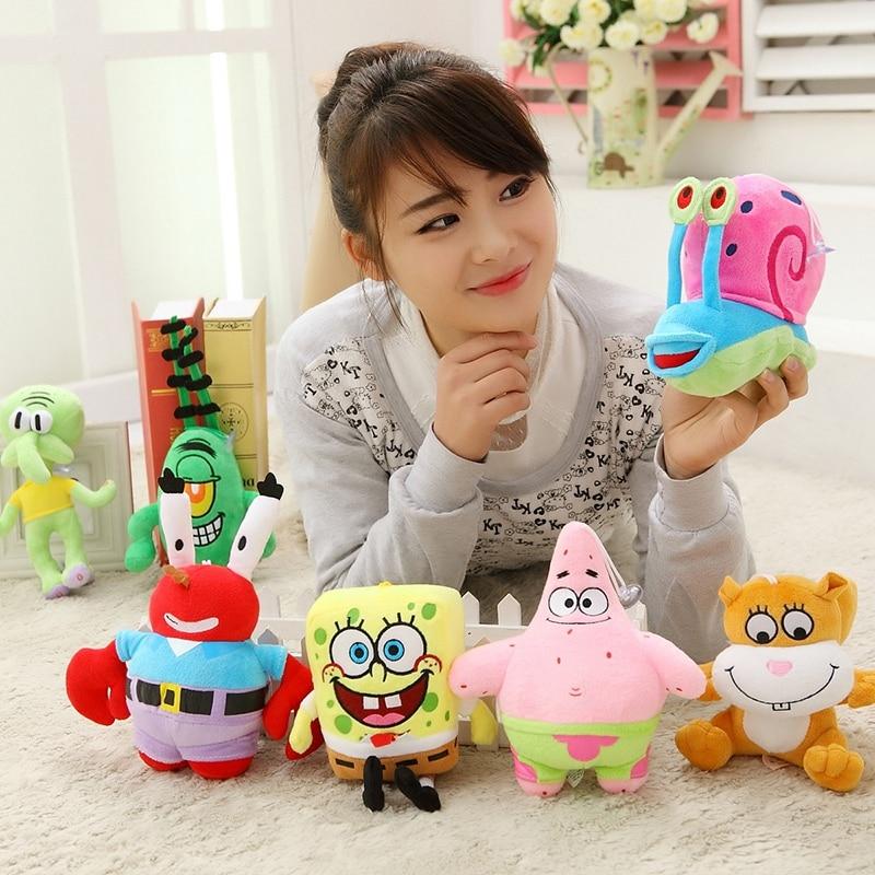 A set 7pcs 20cm SpongeBob high-quality Plush Toys Stuffed dolls Sponge Bob/Patrick/Crab/Plankton/Octopus/Snail kids toys gift