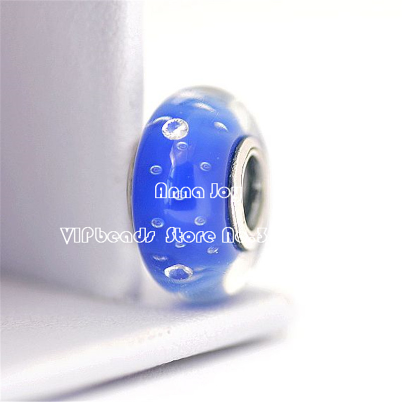 Jewelry & Accessories New 2pcs 925 Sterling Silver Dark Blue Effervescence Murano Glass Charm Beads Fit European Jewelry Bracelet & Necklaces Zs299 Strong Packing Beads