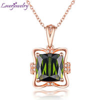 LOVERJEWELRY Solid 14Kt Rose Gold Real Diamond Natural Green Tourmaline Pendant Necklace Wedding Jewelry for Wife Anniversary