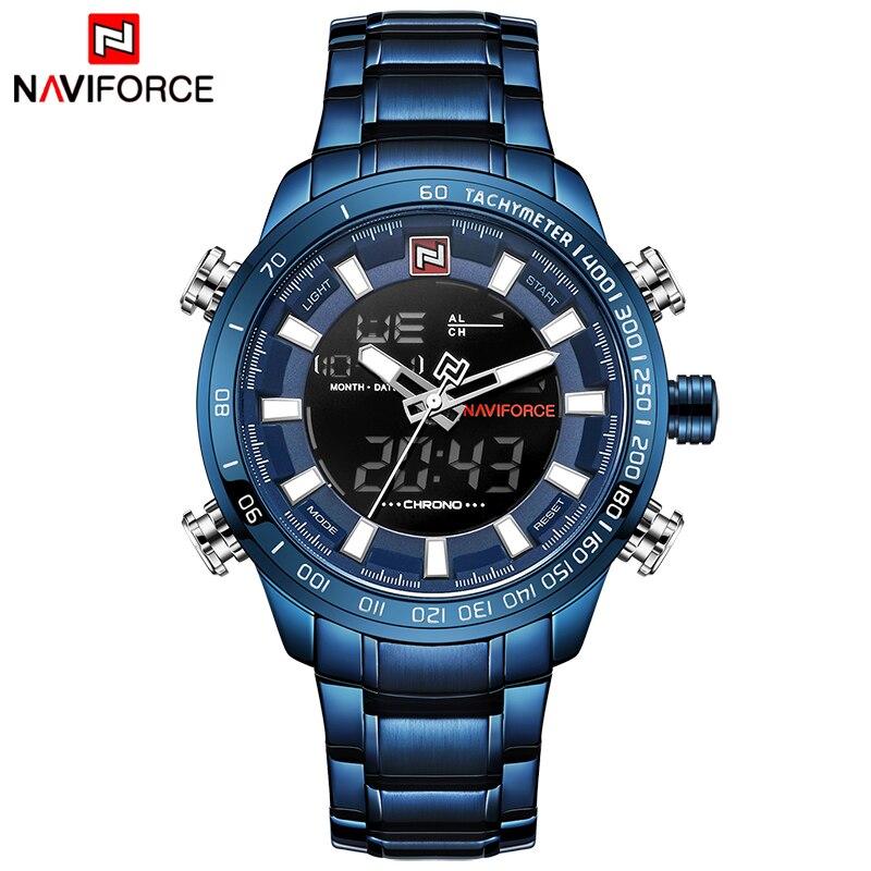 NAVIFORCE Top Marque De Luxe Hommes Sport Montres Hommes En Acier Plein Quartz Numérique Horloge Homme Montre Étanche Relogio Masculino