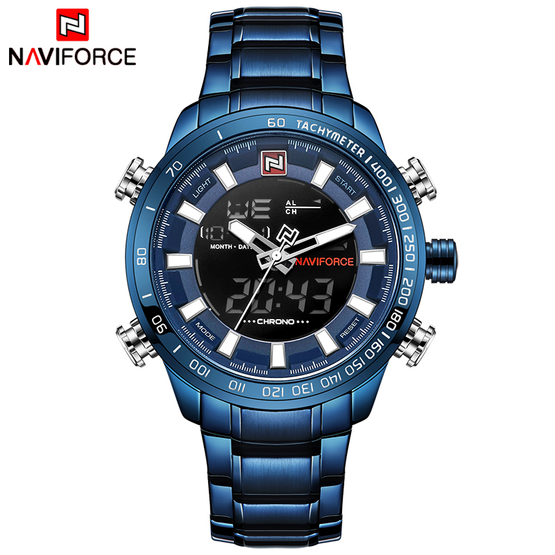 NAVIFORCE Top Luxury Brand Men Sports Watches Mens Full Steel Quartz Digital Clock Man Waterproof Wrist Watch Relogio Masculino naviforce men s military sports watches men led digital watch waterproof full steel quartz watches man clock relogio masculino