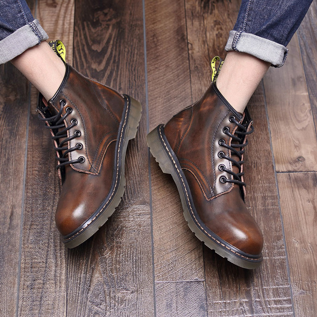 Erkekler patik büyük boy kış hakiki deri marka sıcak satış moda tasarımcısı erkek botları # MXZ8309156