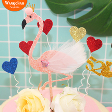 Sparklin Flamingo Cake Topper Happy Birthday Party Supplies Cupcake Decoration Dessert Table Accessories