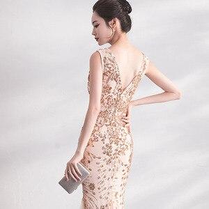 Image 5 - DongCMY Gold Farbe Pailletten Prom Kleider Vestido Lange Elegante Abend Party Frauen Kleider