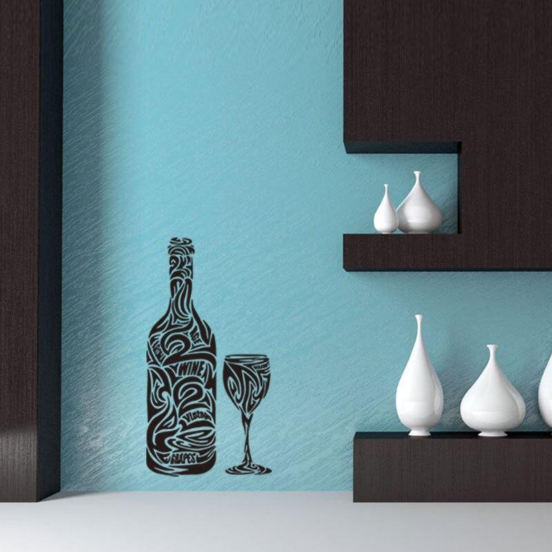 Küche Design Wand Stickersart Wandbild Weinflasche Muster Wandtattoo