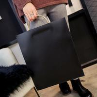 Hot Moda de Nova Bolsa de couro de Alta qualidade PU Mulheres saco anel saco de documento Portátil de Ferro Grande-capacidade de mão-realizada maleta