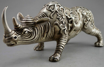 Copper Brass CHINESE crafts Asian Elaborate Chinese feng shui handmade white copper animal rhino statue