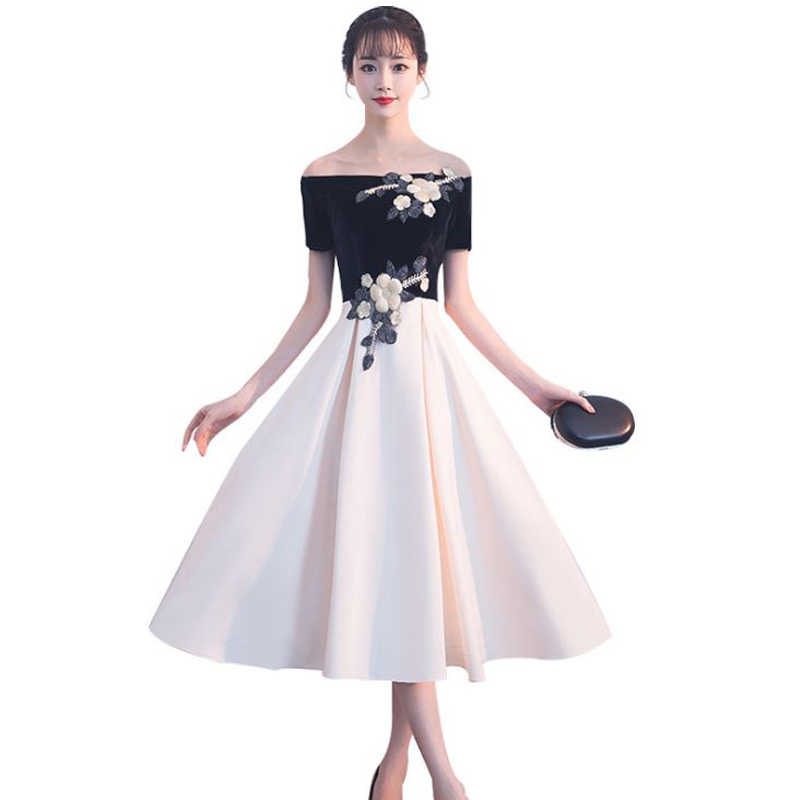 9eb95ee6a7e Вышивка бархат кружева 2018 Новый Для женщин Элегантные Короткие платье  Вечерние выпускных вечеров для Gratuating Дата