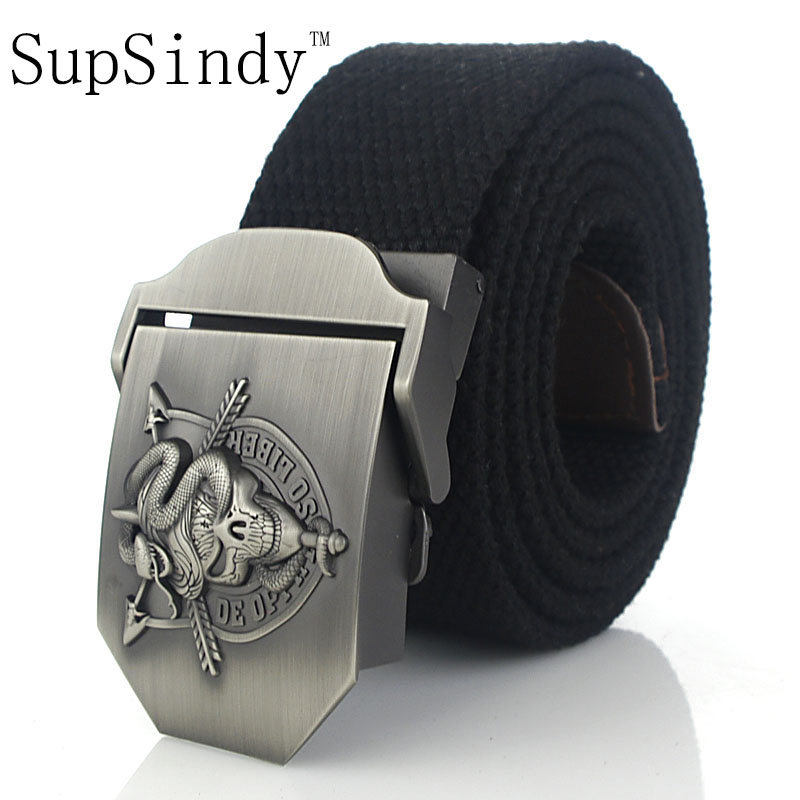 SupSindy men's canvas   belt   Skull Snake metal buckle military   belt   Army tactical   belts   for Male top quality men strap Army green