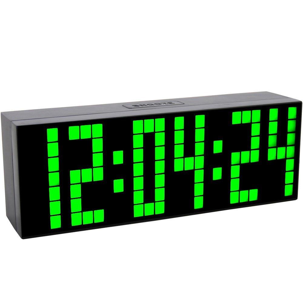 Big Number Green Large LED Digital Snooze Alarm Clock Countdown Temperature Desk Clock