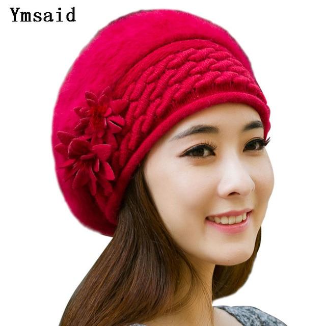 f1513cb75325f Ymsaid Beanies Women Fur Winter Hats Beret Girl Knitted Autumn Hats For  Women Bonnet Brand Rabbit