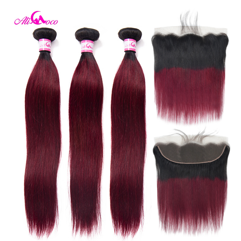 Ali Coco Straight Hair Bundles With Frontal 1B/99J Human Hair Bundles With Frontal Brazilian Remy Hair Lace Closure With Bundles