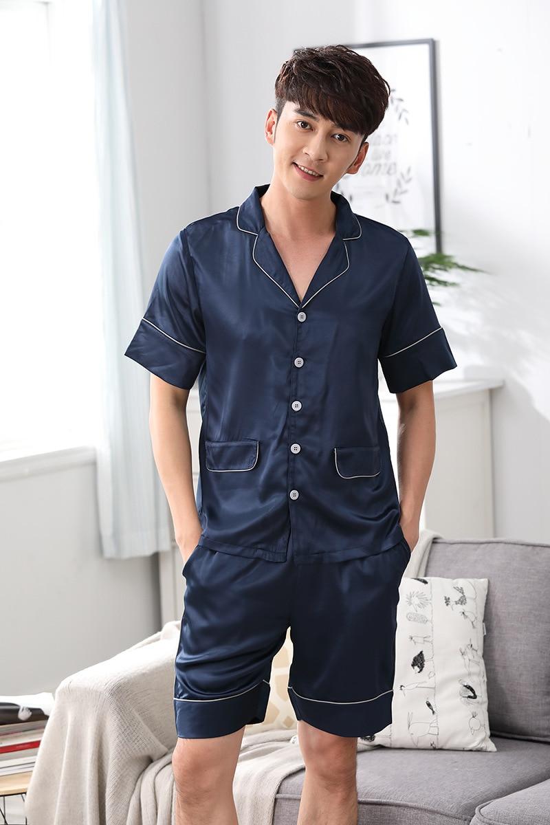 3e5193ccc0ec Summer satins silk mens short pajamas sets denim blue short-sleeve mens  pyjamas set male shorts homewear clothing pijama hombre
