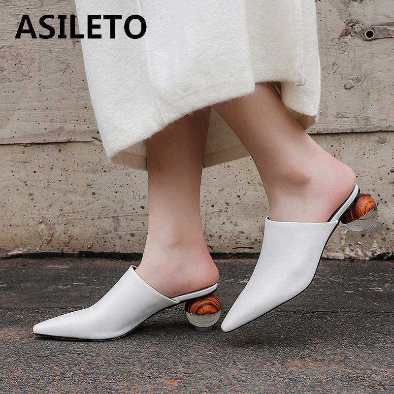 ASILETO Women Summer Mules Slippers High Heels Strange Heels Outside Shoes For Girls Brand Mules Shoes