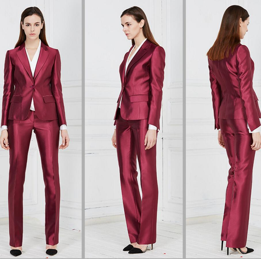 Female career suits Satin custom formal occasions suits OL suit business interview women tailored suit