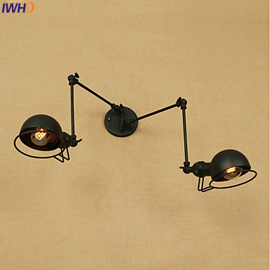 IWHD Antique Eidson LED Wall Light Fixtures Wandlamp Swing Long Arm Wall Lights Vintage Industrial Wall Sconce Lampara Pared