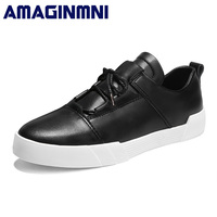 AMAGINMNI Brand Classic Men Casual Shoes Comfortable Round Toe Lace Up Flat Shoes Fashion Breathable Height