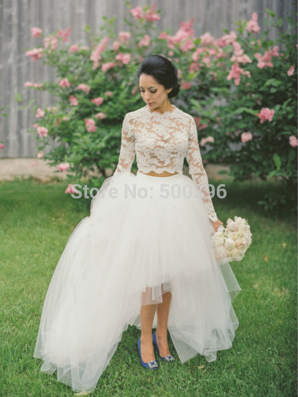 Lovely Lace Two Pieces Asymmetrical Wedding Dress O-neck Long Sleeve Brush Train Tulle Bridal Gown NM 446