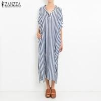 ZANZEA Women Striped Dress 2018 Autumn Casual Loose Sexy Maxi Long Party Dresses V Neck Split