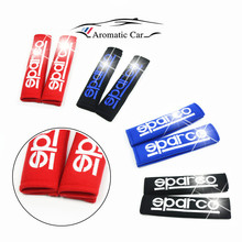 One Pair NEW Seat Belt Cover Shoulder Pads with White SPARCO color Red Blue Black seat belt fit Car Cushion Mat car styling