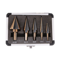 5pcs Step Drill Bit Set Hss Cobalt Multiple Hole 50 Sizes SAE Step Drills 1 4