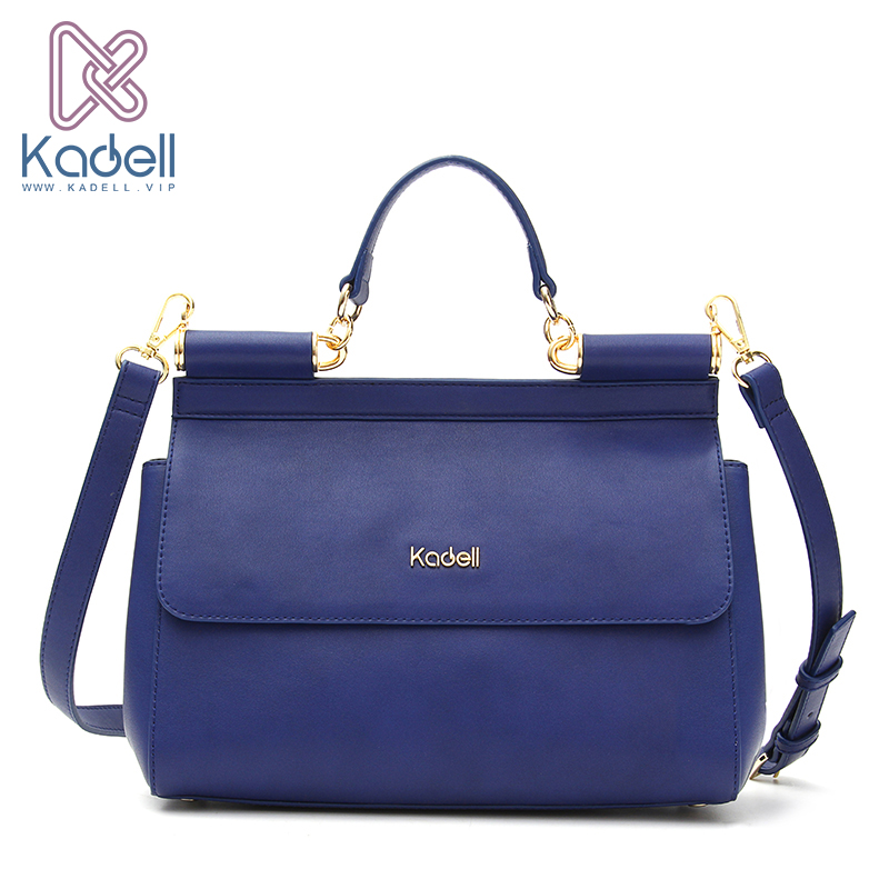 Kadell Woman PU Leather Handbag Fashion Brands Ladies Crossbody Bag Flap Purses and Handbags Blue flap pu crossbody bag