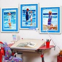 Hot DIY 5D Diamond Embroidery Beach Girls And Boys Round Diamonds Cross Stitch Set Diamond Painting