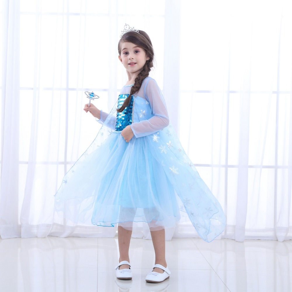 Free shipping New style Frozen princess skirt girl 39 s dress summer style short sleeves princess dress birthday performance dress in Girls Costumes from Novelty amp Special Use