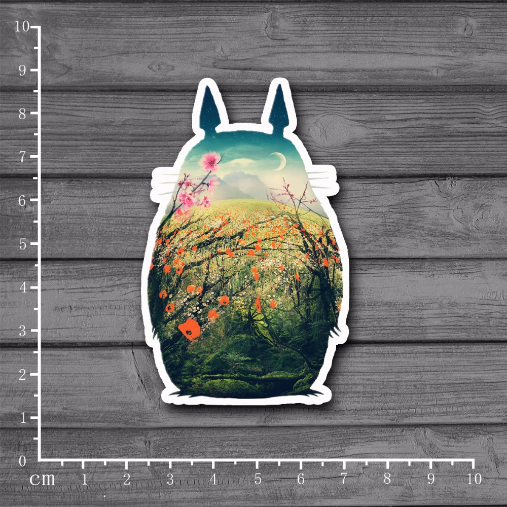 Hot Small Fresh Cartoon Totoro Stationery Sticker Decal For Car Laptop Bicycle Motorcycle Notebook Waterproof Stickers[Single]