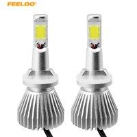 FEELDO 1Pair 880 881 H27 60W 6400LM WHite Car COB LED Headlight Kit Fog Lamp Bulbs