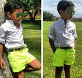 Детская одежда мальчик досуг комплект белая рубашка + желтые шорты 2 шт. летней одежды для новорожденных YCZ020