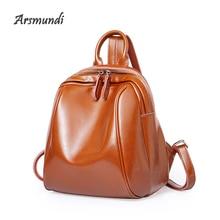 ФОТО arsmundi sprring summer ladies' genuine leatherhigh quali leisure time concise both package oil backpack travel study school bag