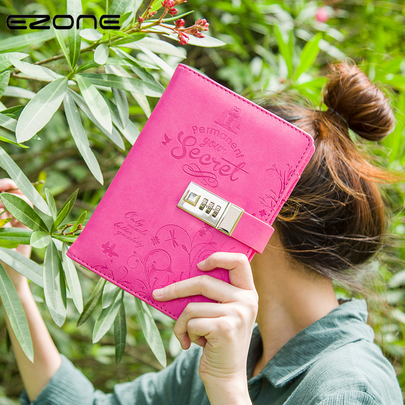 EZONE Coded Lock Note Book Secret Colorful Leather Notebook Vintage Diary Planner Notepad Agenda Traveler Stationery School Gift rights of the game notebook gift diary note book agenda planner material escolar caderno office stationery supplies gt105