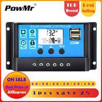 60A/50A/40A/30A/20A/10A 12V 24V Авто за максимальной точкой мощности, Солнечный контроллер заряда ШИМ-контроллеры ЖК-дисплей Dual USB 5V Выход обжимной инстру...