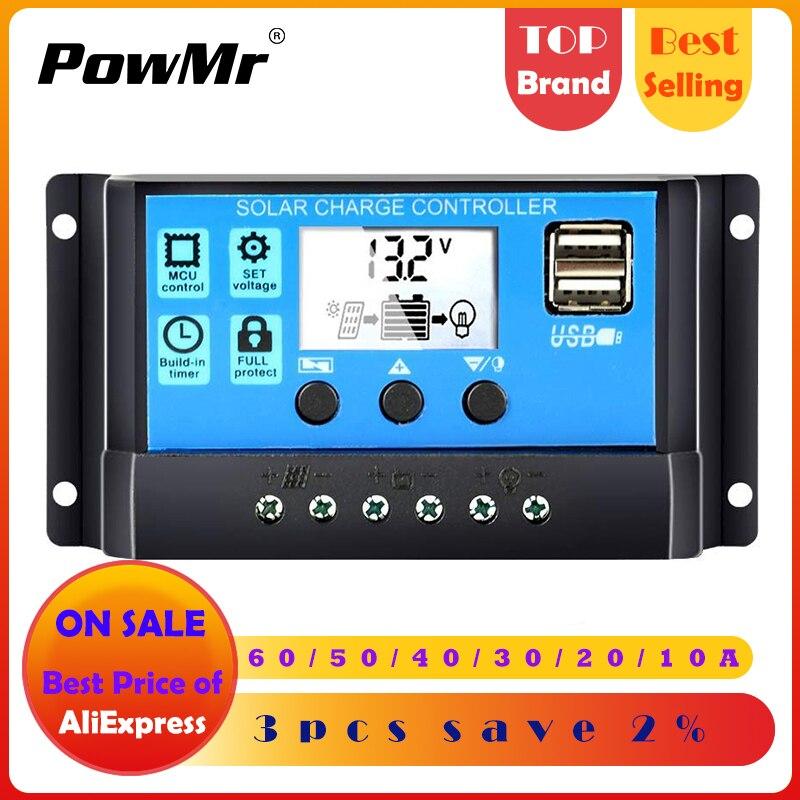 60A/50A/40A/30A/20A/10A 12V 24V Auto PWM Controlador de Carga Solar controladores de LCD Dual USB 5V Saída Regulador de Painel Solar PV