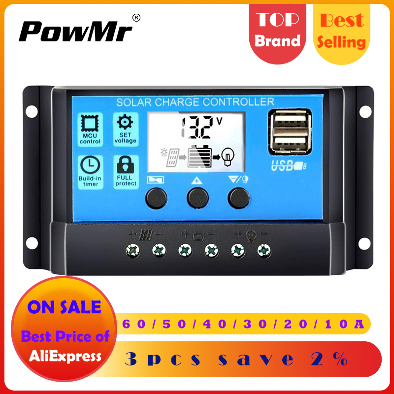 60a/50a/40a/30a/20a/10a 12 v 24 v controlador de carga solar automático pwm controladores lcd dupla usb 5 v saída painel solar regulador fotovoltaico